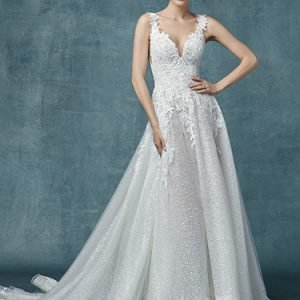 Carmella Wedding Dress Maggie Sottero | tulle a-line lace wedding dress