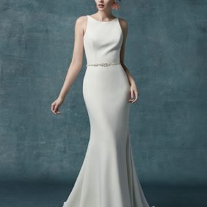 Claudia Dawn Wedding Dress Maggie Sottero | crepe sheath wedding dress