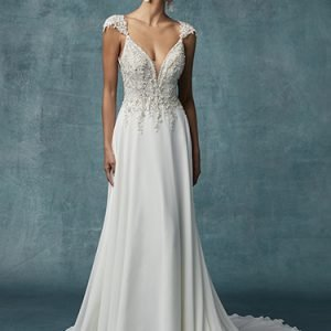 Gabor Wedding Dress Maggie Sottero | chiffon a-line wedding dress