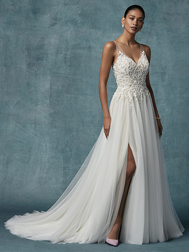 Seeley Wedding Dress Maggie Sottero   tulle a-line lace wedding dress